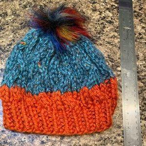 Blue and Orange Cable Knit Beanie